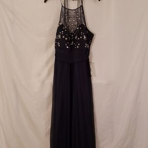 Floor length crystal and sequins gown